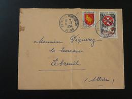 Timbre Ordre De Malte Sur Lettre Oblit. Entrepot Montlucon 03 Allier 1956 - 1921-1960: Moderne