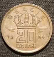 BELGIQUE - BELGIUM - 20 CENTIMES 1954 - Légende NL - Type Mineur - KM 147 - 01. 20 Centimes