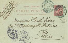 1904- Bureau Français à L'étranger -   C P EP  10 C Levant  Oblit. Bleue DARDANELLES / TURQUIE - Storia Postale