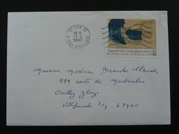 Tableau Painting Rodin Seul Sur Lettre Obl Lyon 1990 - Marcophilie (Lettres)