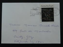 Tableau Painting Roberto Matta Seul Sur Lettre Bron 69 Rhone 1991 - Marcophilie (Lettres)