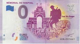 Billet Touristique 0 Euro Souvenir France 80 Mémorial De Thiepval 2020-4 N°UEBJ003661 - Private Proofs / Unofficial