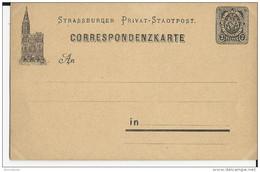 1887 - BAS-RHIN -  POSTE PRIVEE D'ALSACE LORRAINE - CARTE POSTALE ENTIER De STRASBOURG - IND SPAL 12 - Alsace-Lorraine