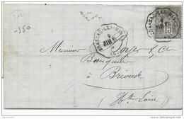 1878 - HAUTE LOIRE / PUY DE DOME - LETTRE De GROSMENIL (MINES) Avec CONVOYEUR STATION De BRASSAC RARE CACHET à L'ENVERS - Storia Postale