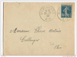 1920 - AIN - ENVELOPPE De MONTANGES - BUREAU DE DISTRIBUTION - - Storia Postale