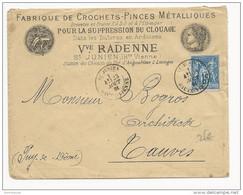 1881 - SAGE - ENVELOPPE PUBLICITAIRE ILLUSTREE AVEC VIGNETTE AU DOS De ST JUNIEN - HAUTE VIENNE - Storia Postale