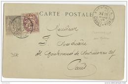 1904 - MIXTE SAGE + BLANC RARE SUR CP D'ALGERIE De KHENCHELA (CONSTANTINE) Pour PARIS - Storia Postale