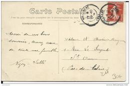 1909 - CHER - CARTE De BOULLERET Avec CACHET PERLE Pour ST OMER - Storia Postale