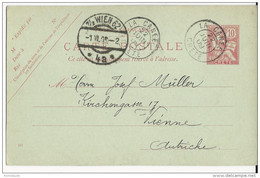 """CRETE - MOUCHON - 1909 - CARTE ENTIER AVEC DATE """"314"""" RARE OBLITEREE LA CANEE Pour WIEN (AUTRICHE) - Unclassified"""
