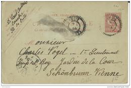 CRETE - MOUCHON - 1904 - CARTE ENTIER RARE OBLITEREE CANDIE (IND 18) Pour SCHÖNBRUNN (AUTRICHE) - Unclassified