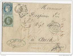 GIRONDE - AFFR.SEPT 1871 SIEGE+LAURE  Sur LETTRE De BORDEAUX Pour AUCH - 1849-1876: Classic Period