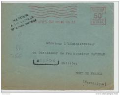 """MARTINIQUE - 1933 - ENVELOPPE Avec EMA De PARIS Pour FORT DE FRANCE Avec RARE """"RETOUR à L'ENVOYEUR FORT DE FRANCE"""" - Briefe U. Dokumente"""