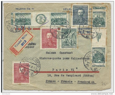 TCHECOSLOVAQUIE - 1938 - ENVELOPPE RECOMMANDEE De VYSOKE MYTO Pour PARIS Avec TIMBRES INTERPANNEAU (ZIERFELD) - Czechoslovakia