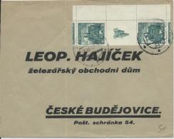 TCHECOSLOVAQUIE - 1936 - ENVELOPPE De PRAGUE Pour CESKE BUDEJOVICE Avec TIMBRES INTERPANNEAU (ZIERFELD) - Czechoslovakia