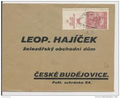 TCHECOSLOVAQUIE - 1937 - ENVELOPPE Pour CESKE BUDEJOVICE Avec TIMBRES INTERPANNEAU (ZIERFELD) - Czechoslovakia