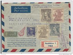 TCHECOSLOVAQUIE - 1948 - ENVELOPPE AIRMAIL RECOMMANDEE De PARDUBICE Pour CHICAGO (USA) Avec CONTROLE DE DOUANE - Briefe U. Dokumente