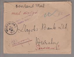 """Iran (Persien) 1930-09-03 Bouchr Overland Mail Nach Würzburg """"nicht Zu Ermitteln"""" Retourniert - Iran"""