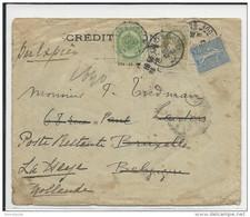 1907 - AFFRANCH. MIXTE SEMEUSE / BELGIQUE - ENVELOPPE EXPRES De PARIS Pour BRUXELLES REEXPEDIEE Pour LA HAYE (HOLLANDE) - 1877-1920: Semi-moderne Periode