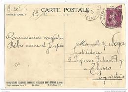 1935 - LOIRE - CARTE De SAINT ETIENNE Avec OBLITERATION MANUFRANCE Pour THIERS - 1921-1960: Modern Period