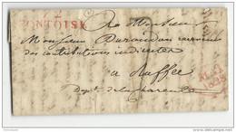 VAL D'OISE - 1828 - LETTRE Avec MARQUE LINEAIRE ROUGE De PONTOISE Pour RUFFEC - 1801-1848: Precursors XIX