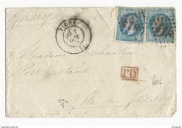1870 - DESTINATION ! - ENVELOPPE De VICHY (ALLIER) Pour POSTE RESTANTE à JERSEY - 1849-1876: Periodo Classico