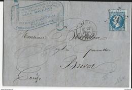 1866 - SEINE - LETTRE De PARIS Avec BELLE ENTETE COMMERCIALE Pour BRIVES - ETOILE 21 - 1849-1876: Periodo Classico