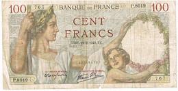 FRANCE   BILLET DE 100 FRANCS   UC. 22 -2-1940    N°767                   BI7 - 1871-1952 Circulated During XXth
