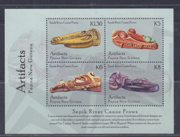 Papua New Guinea 2014 Artifacts Sepik River Canoe Prows Sheetlet MNH - Papua-Neuguinea