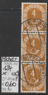"1951/52 - BRD - FM/DM ""Ziffer M. Posthorn"" 3x 4 Pf. Gelbbraun  (124o X3    Brd) - Oblitérés"
