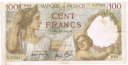 FRANCE   BILLET DE 100 FRANCS    HU  . 8 -1-1942    N°986                  BI11 - 1871-1952 Circulated During XXth