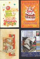 Biglietti Augurali USATI 4 A Rilievo Greeting Cards USED In Relief Cartes De Voeux UTILISÉES En Relief MAT00007 - Saisons & Fêtes