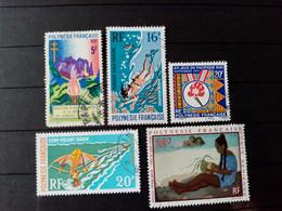 POLYNESIE . 1970 .  Poste Aériènne N° 40.45.49.50.  .  4 Oblitérés . Côte Yvert 28,40 €. - Polinesia Francese