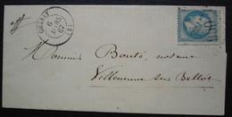 Charly 1867 (Aisne) Gc 900 Lettre Pour Villeneuve Sur Bellot, Cachet Tireté D'arrivée Au Revers - 1849-1876: Classic Period