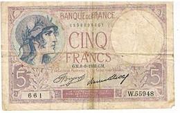 FRANCE   BILLET DE 5 FRANCS   GM. 8 -6-1933    N°W.55948               BI23 - 5 F 1917-1940 ''Violet''