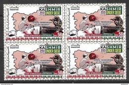 PAKISTAN 2020 STAMPS INDIAN OCCUPIED JAMMU & KASHMIR UNDER SIEGE 365 DAYS BLOCK OF FOUR  MNH - Pakistan