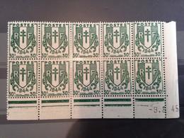 FRANCE - 1945 - Coins Datés En Bloc De 10 - 9.8.45 - N° 671 - Neuf ** - 1940-1949