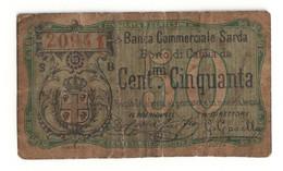 Italy BANCA COMMERCIALE SARDA (Sassari) 50 Centesimi 1873 - [ 1] …-1946 : Kingdom
