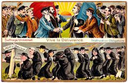 SUFFRAGE UNIVERSEL / VIVE LA DÉLIVRANCE / INSTRUCTION OBLIGATOIRE - [ ADIEU / BELGIQUE ] - ANTI CLÉRICAL ~ 1910 (af558) - Satira