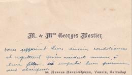 VENOIX (CAEN, CALVADOS 14) M. & Mme Georges Mostier 96 Avenue Henri-Chéron, Venoix, Calvados - Visiting Cards