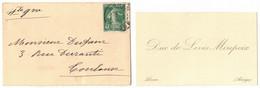 CARTE DE VISITE 6 Cm X 10 Cm DUC DE LEVIS MIREPOIX MEMBRE DE L'ACADEMIE FRANCAISE LERAN ARIEGE ENVELOPPE TOULOUSE DUFOUR - Visiting Cards