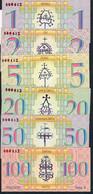LITUANIA NLP ARCHITEKTURA 1,2,5,20,50,100 AISCIU 2002 ALL SAME LOW # 000482   COMPLETE SET  UNC. - Lithuania