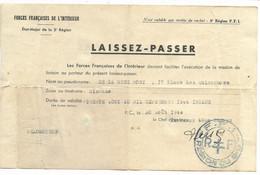 BORDEAUX- LAISSEZ-PASSER 30.08.1944 Pour Vélomoteur Tampon F.F.I. REGION S.O. (5e Région) - Historische Documenten