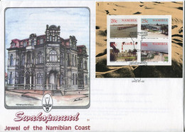 Namibia Mi# Block 15 Used On Official FDC - Swakopmund Buildings, Lighthouse, Beach - Namibie (1990- ...)