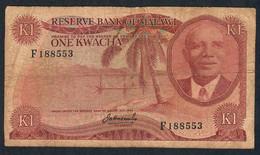 MALAWI P10a 1 KWACHA 1973  #F   FINE FOLDS & CENTRAL VERY SMALL HOLE - Malawi