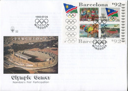 Namibia Mi# Block 16 Used On Official FDC - Olympic Games Barcelona 92 - Namibie (1990- ...)