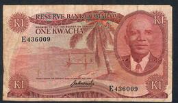 MALAWI P10a 1 KWACHA 1973  #E   FINE FOLDS NO P.h. ! - Malawi