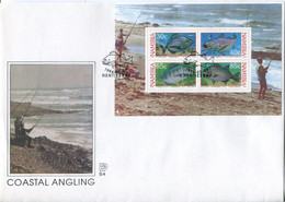 Namibia Mi# Block 19 Used On Official FDC - Fauna Fish - Namibie (1990- ...)