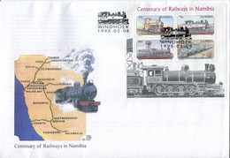 Namibia Mi# Block 21 Used On Official FDC - Transport Railway Trains - Namibie (1990- ...)