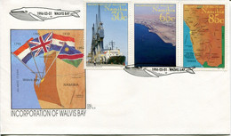 Namibia Mi# 768-70 Used On Official FDC - Map, Harbour, Ships, Whale - Namibie (1990- ...)