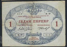 MONTENEGRO P15 1 PERPER 1914 #H.27      F-VF.   NO P.h. ! ! - Bankbiljetten